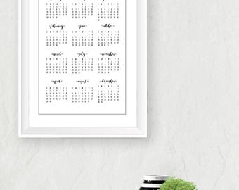 2018 Wall Calendar, Printable Download, PDF, Year at a Glance, Minimal, Calligraphy, Black and White, Monthly Calendar, 3 Poster Sizes