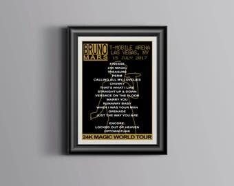 BRUNO MARS 24K Magic Tour - Concert Poster - Las Vegas Setlist - July 15 2017 - T-Mobile Arena - Giclee Fine Art Print Wall Art