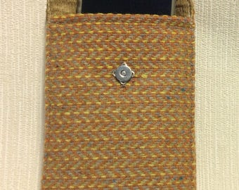 Welsh tweed phone case, cell case in orange and yellow