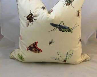 "20"" Designer Insect Decorative Feather Down Throw Accent Pillow"