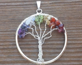 7 CHAKRA Tree Of Life Wire Wrapped Pendant Stone Natural Gemstone