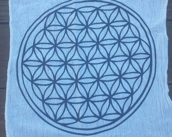 Cotton CRYSTAL GRID CLOTH With Flower Of Life Pattern