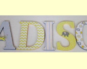 Wood Letters-Nursery Decor- Yellow & Grey Elephant theme- Price Per Letter-Custom made -Other Colors available