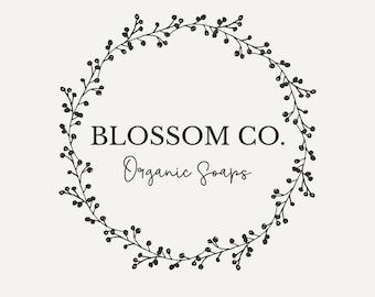 Wreath logo, Floral logo design, Vintage logo, Wedding logo, Premade logo, Natural logo, Feminine logo, Business logo, hand drawn logo