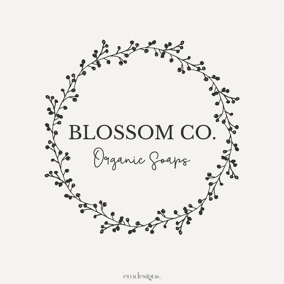 Floral Logo Design Wreath Vintage Shop Branding