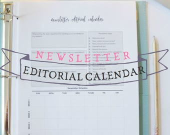 Newsletter Editorial Calendar - Blog Newsletter Planner - Blog Planner - Blog Planning Sheets