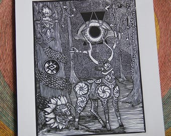 Art Linoleum Print, Deer, Mexican art, Hand made, Huichol art