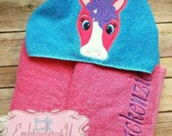 Horse Character Hooded Towel Bath Towel Beach Towel Embroidered Towel Personalized Towel