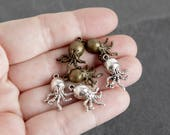 Mixed Lot of 46 Antique Bronze and Silver Octopus Charms or Pendants, Jewelry Supply Destash