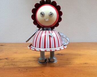 Robot, robot sculpture, found object robot sculpture assemblage, Peppermint the Robot Girl