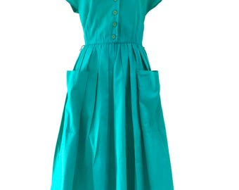 80s Vintage Ocean Green 50s Style Open Back Pure Cotton Day Dress, Summer Dress, Sun Dress
