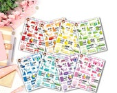 Chores Samplers - Multicolor - set of 24 stickers for your Erin Condren, Happy Planner, Inkwell Press, or Travelers Notebook!
