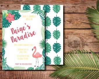 Tropical Hawaiian Paradise DIY Printable Child's Birthday Party Invitation with back design