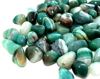 THREE Small Banded Green Agate Tumbled Crystals, Heart Chakra Healing Stone, Meditation Reiki Wicca Gift For Wife, Crystal Yoga, Brazil Gems