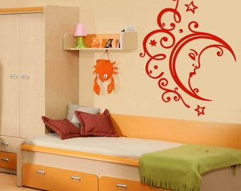 Wall Vinyl Decal Family Sleeping Moon Stars Clouds Relaxation Bedroom Decor (2421dn)