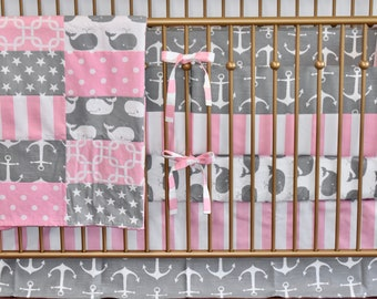 5 PIECE SET - Gray and Pink Anchors Crib Bedding, nautical,Baby Girl, modern nursery, pastel colors, grey, pink, whales, ocean, sea,