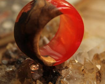 gift|for|bride jewelry birthday gifts|for|her custom ring boho promise ring Red ring nature ring resin jewelry engagement ring bridesmaid