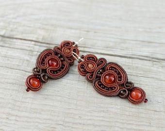 Beaded dangle earring anniversary gift-for-wife Mindfulness gift-for-her Boho earring Soutache earring Brown earring inspiration imagination