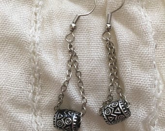 Black&Silver Barrel Earrings