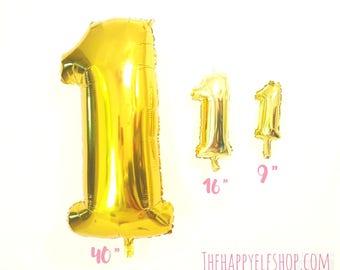"40"" Gold number 1 balloon. gold number balloons. number balloon. first birthday. jumbo number balloon. number one balloon. gold balloons."