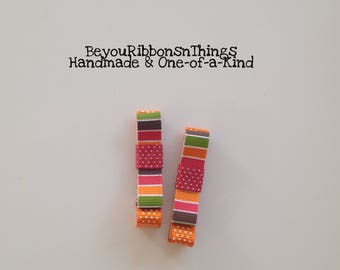 Colors of Fall | Hair Clips for Girls | Toddler Barrette | Kids Hair Accessories | Black Grosgrain Ribbon | No Slip Grip | Autumn