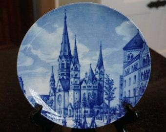Kaiser Wilhelm Memorial Church/Furstenberg West Germany Plate/ Souvenir plate/ Blue and White Porcelain Plate/ Vintage Plate