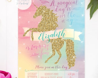 Unicorn Printable Invitation, Golden Glitter, Unicorn Birthday Invitation, Gold Unicorn, Unicorn Party Invite, Magical Unicorn Invite