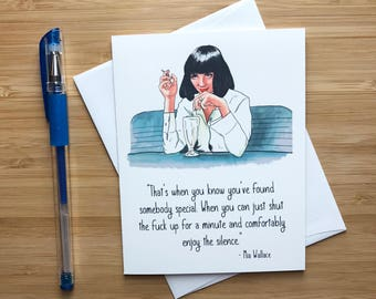 Cute Pulp Fiction Card, Mia Wallace, Uma Thurman, Thinking of you Card, Miss You Card, Quentin Tarantino, Love Card, Anniversary Card