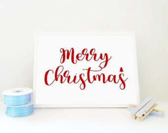 Printable Print Merry Christmas with a Tree in Red, Christmas Print, Christmas Decor, Christmas Gift, Typography Poster, Xmas Art, PDF & JPG
