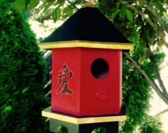 Asian Pagoda//Red Bird House//Hand Painted