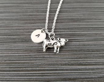 Silver Cow Necklace - Jersey Cow Charm Pendant - Personalized Necklace - Custom Gift - Initial Necklace - Personalized Gift - Cowgirl