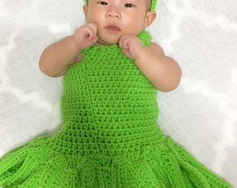 Crochet Tinkerbell costume (Available Newborn to 24 months)