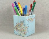 Custom World Map Pencil Pot, Wanderlust Gift, Pencil Holder, Desk Storage, Desk Tidy, Map theme, Map Gift + Free Gift Wrapping