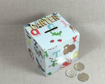 Baby Alphabet Money Box, Baby Shower, Unicorns & Flamingos, Alphabet Decor, Dinosaurs, Christmas, Stocking Filler, Free Gift Wrapping!
