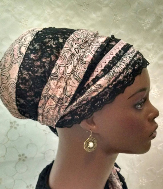 Pink modern floral lace sinar tichel, tichels, head scarves, chemo scarves, hair snoods