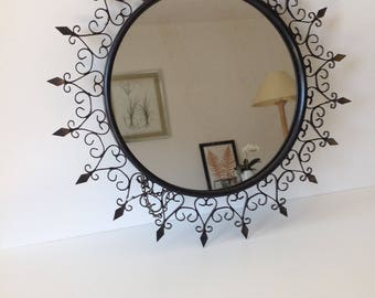 Black iron, syroco mirror Chaty Vallauris Sunburst mirror