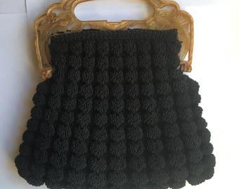Black Corde Crochet Woven Purse with Bakelite Lucite Handle