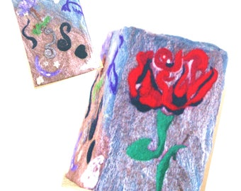 Rose Felt Covered  Book, Genuine Sale, Needle Felted Book.