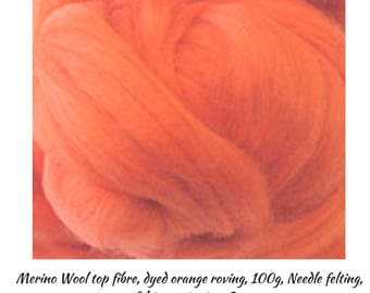 Orange Merino Wool is a Great Fibre for Top Quality Roving Projects, One Only, Excess Stock, Great Prices, Bargains,DETASH