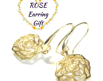 Gold Rose Earrings, Gold Rose Sparkling Earrings, Uniquely Different Zirconia Earrings, Romantic Earring Gift,Special Earring Gift for Her