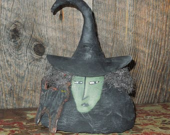 Agatha Witch with Cat Soft Sculpture Primitive Doll