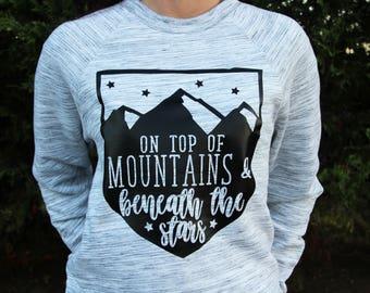 Hiking Sweatshirt - Mountains Sweatshirt - Hiking - Mountains - Sweatshirt - Pullover - Womens Sweatshirt - Camping - Slouchy Sweatshirt -