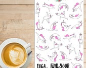 Unicorns Doing Yoga Planner Stickers | Unicorn Stickers | Yoga Stickers | Fitness Stickers | Workout Exercise Stickers (S-284)