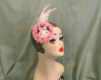 Statement headpiece,large Pink feathered fascinator,cute,hair accessories,flapper girl,show girl,Great Gatsby,Burlesque,childs headdress