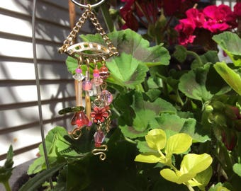 Pink and Coral Garden Fairy Wind Chime with Vintage Jewelry Pieces - Fairy Garden Accessory