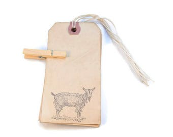 Goat Gift Tags, Favor Tags, Goat Tags, Tea Stained Tags, Merchandise Tags, Hang Tags, Party Decor,  Primitive Tags, Gift Tags, Rustic Tags