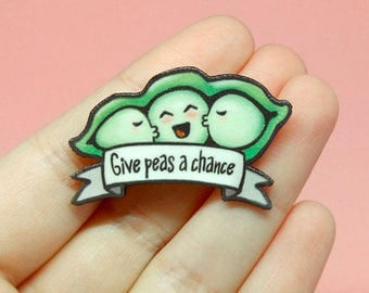 Pun gifts, Peace sign, Vegan pin, Peas in a pod brooch, Funny vegetable pin, Miniature food, Hat pin