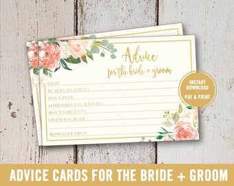 Bridal Shower Game Printable, Advice for the Bride and Groom, Bridal Shower Advice Cards, Bride and Groom Advice Cards, Instant Download