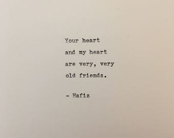 Hafiz love quote hand typed on antique typewriter gift girlfriend boyfriend husband wife wedding present birthday christmas