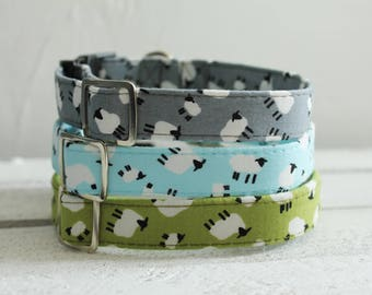 Dog Collar Sheep & Lamb Print Pattern - plastic or metal clasp and lead available seperately